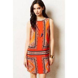 anthropologie orange silk shift dress canna shift