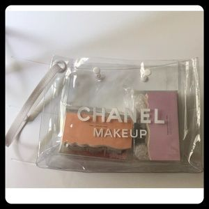 CHANEL Handbags - Chanel beaute clear make up bag white trim