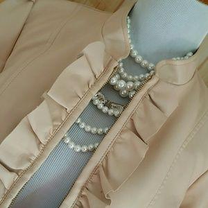 Jackets & Blazers - Blush pink faux leather jacket vegan leather