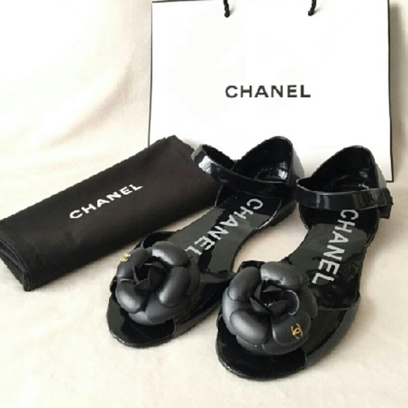 78ca949228e6 CHANEL Shoes - Chanel Camellia CC Logo Black Jelly Shoes