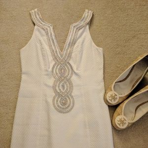 Lilly Pulitzer Dresses & Skirts - White, Gold & Silver Lilly Pulitzer Shift Dress