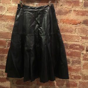 JOA vegan leather midi skirt