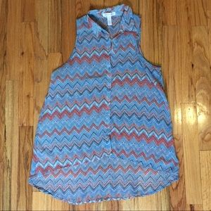 Ambiance Apparel Tops - Chevron Blue and Coral Sleeveless Tank