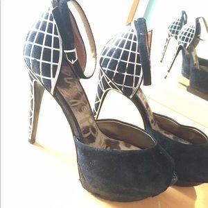 Sam Edelman Shoes - Sam Edelman Black Heels with Silver Pattern