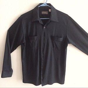 Mens casual black silky button down shirt