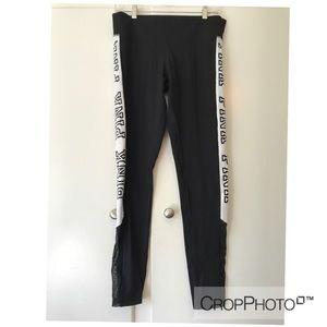 VS pink leggings with mesh detailing