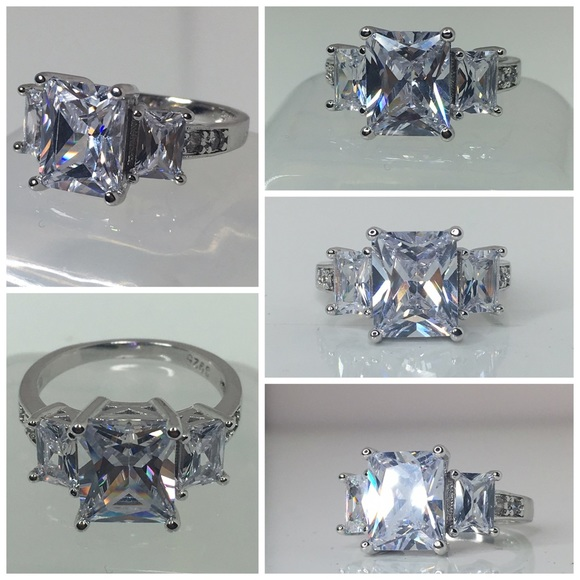 97% off Jewelry 4ct Radiant cut AAA CZ tri stone engagement ring from Top r