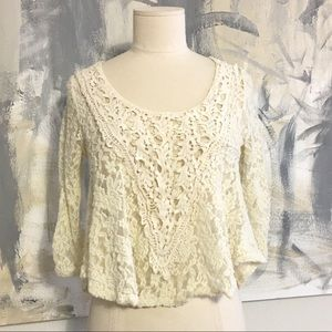 Rags to Raches Tops - Tags to Wishes Lace Swing Crochet Ivory Top Boho