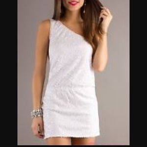 Max & Cleo Dresses & Skirts - NWT Max and Cleo White Sequin One Shoulder Dress M