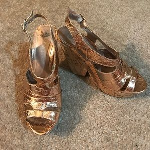 Rose gold BCBGeneration leather & cork wedges
