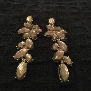 H&M Jewelry - H&M Gray Rhinestone Statement Earrings