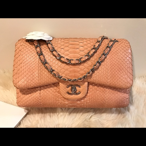 207a9f5e50c4 CHANEL Bags   Pink Python Double Flap Jumbo Bag   Poshmark