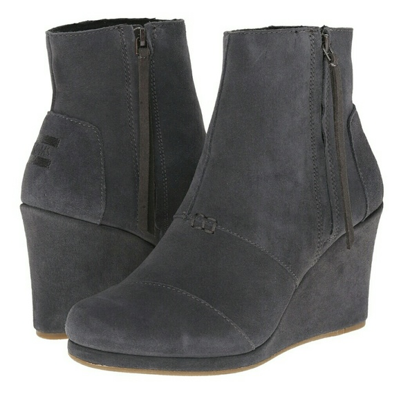 fac9a4a8c20  Toms  Dark Grey Suede Desert Wedge High Bootie