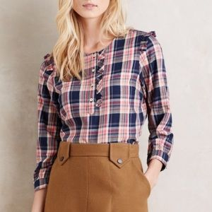 Anthropologie Tops - Anthropologie Plaid Ruffled Henley