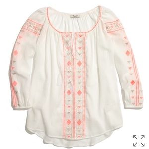 Madewell embroidered peasant bohemian top