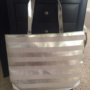 New silver stripe Tote  Bag