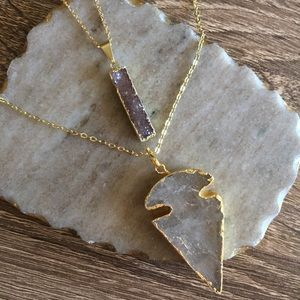 Simple Sanctuary Jewelry - 24k Gold Plated Crystal Quartz Arrowhead Necklace