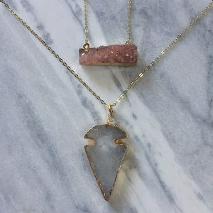 Simple Sanctuary Jewelry - 24k Gold Plated Crystal Quartz Arrowhead Necklace