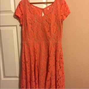 Peach lace dress with nude underlay