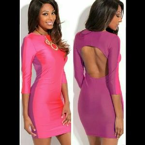 Dresses & Skirts - Pink and Purple Open Back Dress