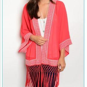 Tops - JUST IN! 🎊🎊 red fringe kimono