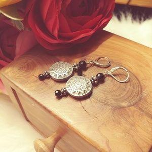 Jewelry - Sterling silver Aztec tribal coin earrings