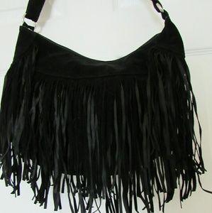 (NEW) Black Faux Suede Fringe bag - NWOT