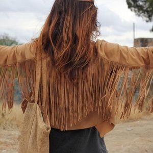 Jackets & Blazers - NEW FAUX SUEDE LONG FRINGE CARDIGAN