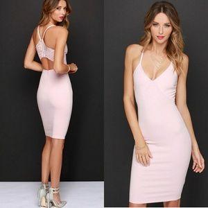 Lulu's Dresses & Skirts - Lulus blush pink backless lace midi bodycon