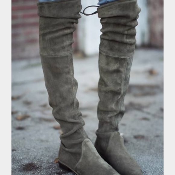 14816b2b349f Free People Shoes | Olive Green Over The Knee Boots | Poshmark