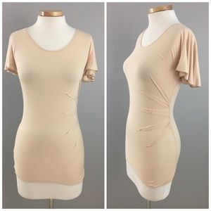 Chelsea & Violet Tops - Peach Nude Cinched stretch T Shirt Blouse