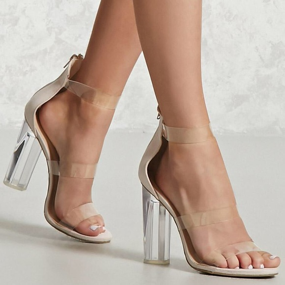0b06a39e847 Lucite Heel Sandals! Nude suede w clear straps 7.5.  M 5906c6cdeaf030d6cb0db515