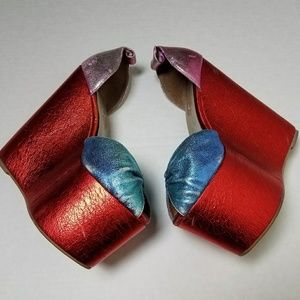 Candy Foil Jeffrey Campbell Platform Wedge Shoes 7