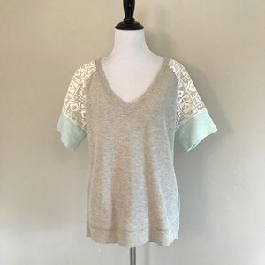 Sanctuary Clothing Lace Short Sleeve Knit Top