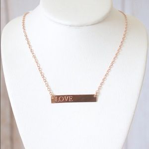 SALE! 14k Rose Gold Bar Necklace