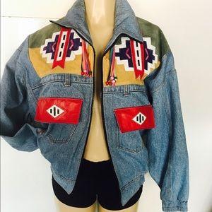 Vintage Jackets & Blazers - Amazing VTG 1980 African Tribal Denim Jacket