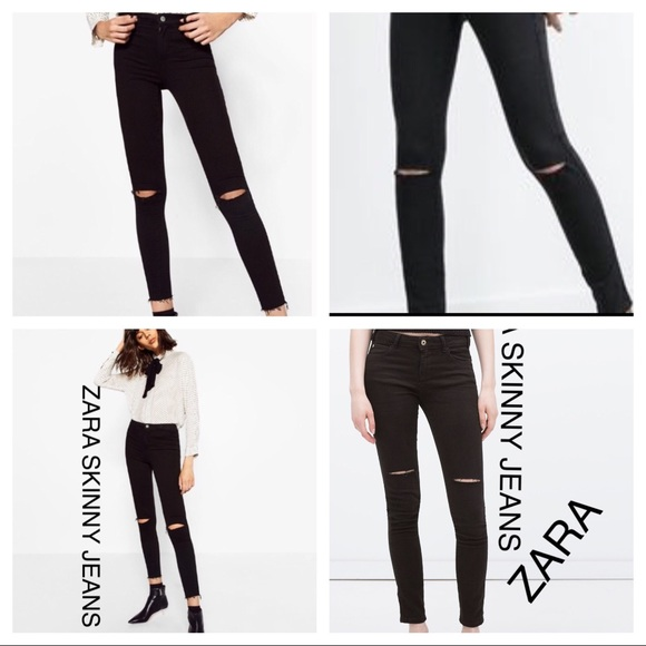 5ff26ba1fa ZARA SKINNY ripped JEANS BLACK LOW RISE DENIM NEW NWT