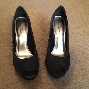 Lulu Townsend Shoes - Lulu Townsend Navy Satin Shoes