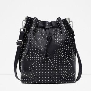 Zara Leather Star Bucket Bag