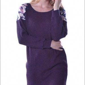 Pastels Clothing Sweaters - Pastels Purple Floral Ribbed Sweater