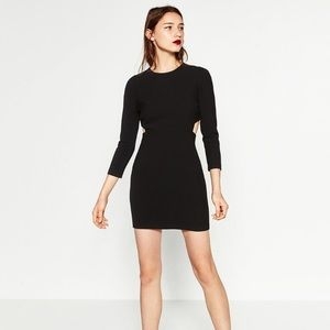 Zara Dresses - NWT Zara black cut out shift dress long sleeve