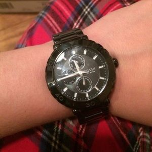 Fossil Accessories - Black ceramic Fossil Watch mother of pearl dial