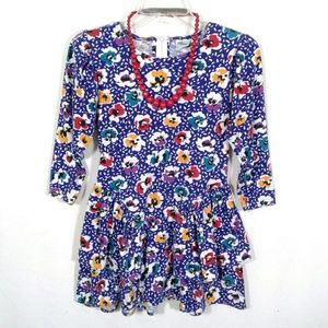 Vtg 80s floral ruffle tiered tunic