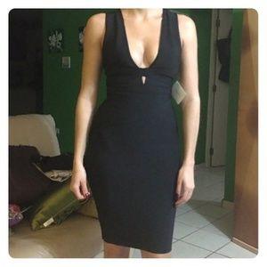Herve Legere type black bandage dress deep v