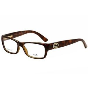 b6f3b071eaf Gucci Womens Havana Plastic Rectangle Eyeglasses