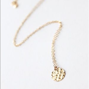 14k Gold Filled Delicate Hammered Disc Necklace