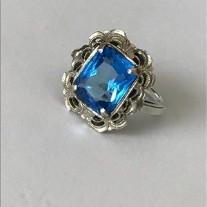 Vintage Jewelry - Vintage Prong Set Emerald Cut Blue Stone Ring