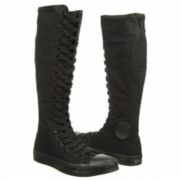0fad9d3433a Black Knee High Tops Converse All Star XX Sneakers
