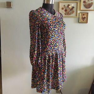  VINTAGE mod 1960s floral drop waist dress