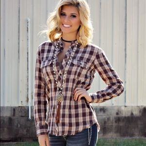NWT Miss Me Vintage embroidered plaid button-down